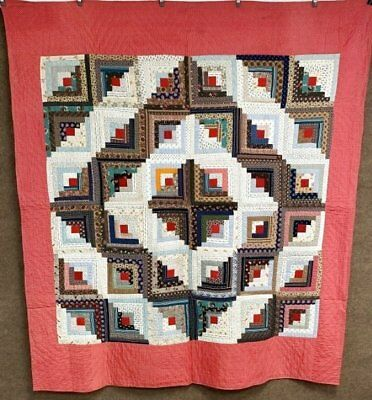 Christmas Red! c 1890 Log Cabin ANTIQUE Quilt   88 x 78 Farmhouse PA