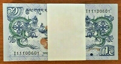 Bhutan 1 Ngultrum P27 2013 X 100 Pcs Lot Full Bundle Dragon Unc Money Bank Note