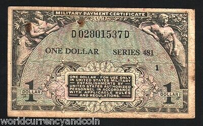 Usa United States 1 Dollar Mpc 481 Military Payment Certificate Korea War Note