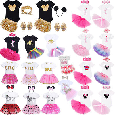 Baby Girls 1st First Birthday Dress Romper Tutu Skirt Headband Outfit Cake Smash