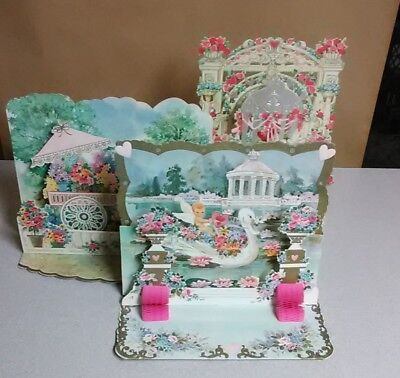 Lot of 3 Vintage Pop Up Expandable Greeting Cards, Valentine & Mothers Day 1950s