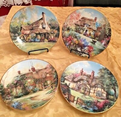 """The Hamilton Collection English Garden Cottages Marty Bell 4 Plates 9"""" Orig Box"""
