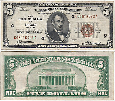 1929 $5 Federal Reserve Bank Note Chicago Illinois F-1850-G VF