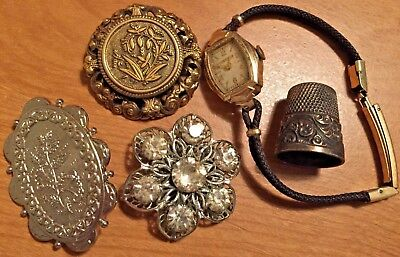 Mixed Lot 5-Piece Vintage Floral Brooches, Watch, Thimble