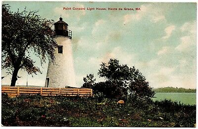 Point Concord Light House Havre de Grace MD Vintage Postcard No.D 3339 Germany