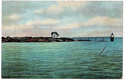 Ram Island Light Near Boothbay Maine Vintage Postcard H.C. Leighton Germany