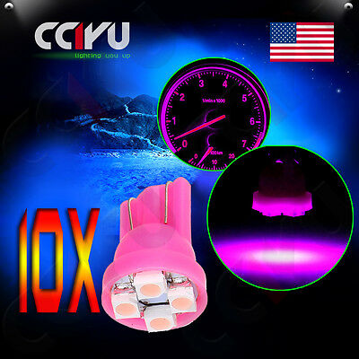 10Pcs T10 W5W 147 168 194 Pink/Purple Map 4-SMD-3528 LED Light Bulbs For Toyota