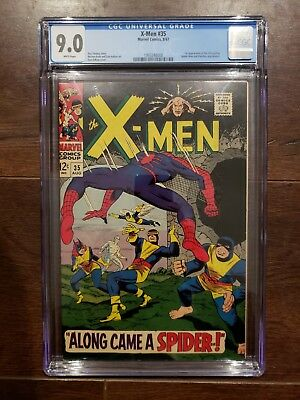 X-Men #35 CGC 9.0 White Pages Spiderman and Banshee Appearance