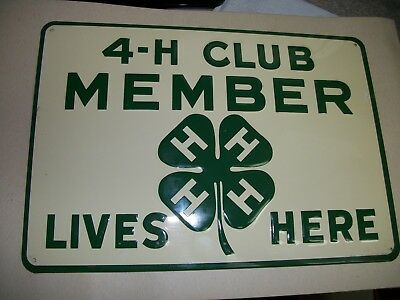 Vintage 4H Club Sign Member Lives Here AG Rural Country Farm Embossed Metal