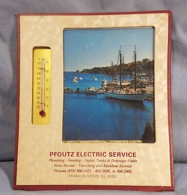 Vintage PFOULTZ ELECTRIC SERVICE Advertising Thermometer FRANKLIN GROVE ILLINOIS