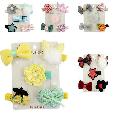 Baby Girl Hair Clip Bow Flower Mini Barrettes Star Party 5Pcs/set Kids Hairpins