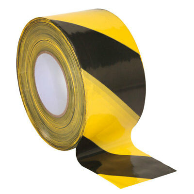 Sealey BTBY Hazard Warning Barrier Tape 80mm x 100m Black/Yellow Non-Adhesive