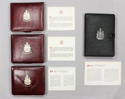 4 Canada Mint Sets w/ 1 Silver Double Dollar Set, 1975-1977 in Mint Boxes & COAs