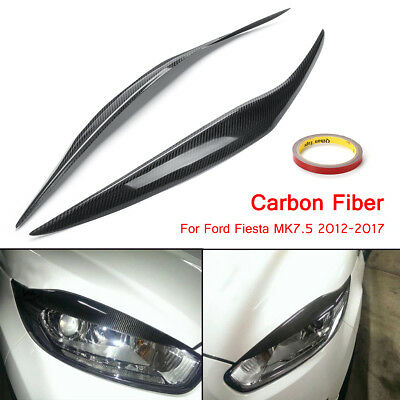For 12-17 Ford Fiesta MK7.5 Carbon Fiber Headlight Facelift Eyebrows Eyelids
