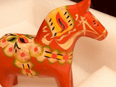 DALA Horse 5 inch ORANGE/Yellow Horse Handpainted Carved Wood