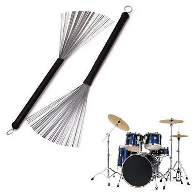 Wire Retractable Loop End Drum Brushes for Jazz Drum Stick Black(Pack of 2)
