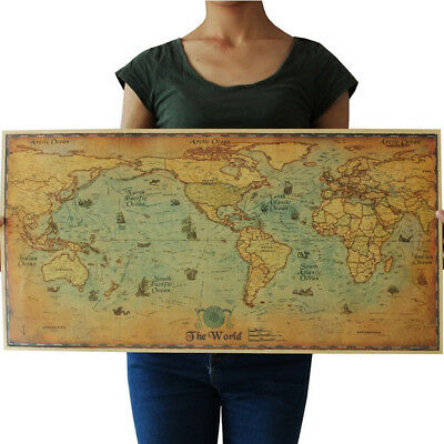 Nautical Ocean Sea World Map Wall Poster Retro Old Art Paper Home Office Decor