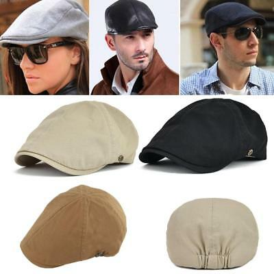 Solid Cotton Gatsby Cap Mens Ivy Hat Golf Driving Summer Sun Flat Cabbie Newsboy