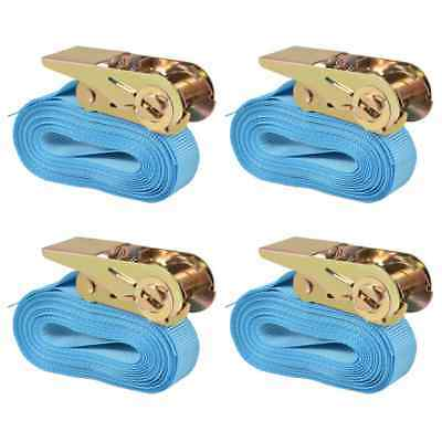 vidaXL 4x Sangle d'Arrimage 0,8 Tonnes 6 mx25 mm Bleu Transport Remorque