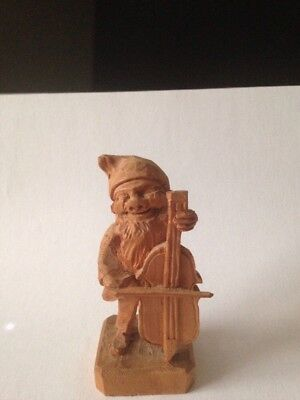 Black Forest Style Wood Carved Figure Gnome Playing Chello