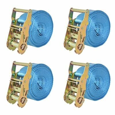 vidaXL 4x Sangle d'Arrimage 2 Tonnes 6 mx38 mm Bleu Transport Remorque