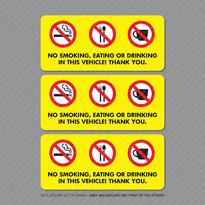 3 x No Smoking Eating Or Drinking Taxi Stickers Minicab Cab Notice - SKU5302