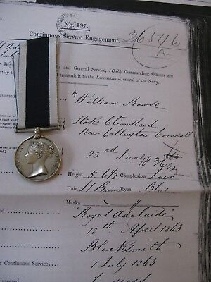 Victorian Royal Navy Engraved LS&GC Medal - Blacksmith - William Rowse