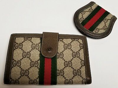 0167b34f5f7c Vintage GUCCI Brown GG Monogram Web Logo Sherry Wallet & Coin Purse Set