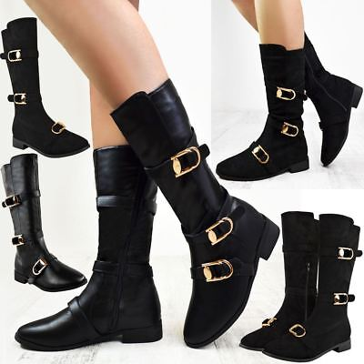 Womens Flat Low Heel Knee Boots Winter Slouch Riding Boots Smart Casual Size