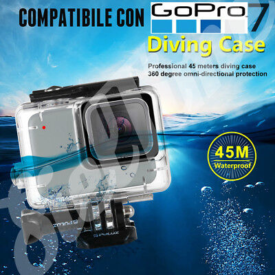 PER GOPRO HERO 7 SILVER WHITE CUSTODIA WATERPROOF 45m DIVING CASE CLEAR