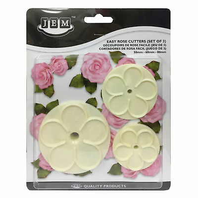 JEM Set of 3 EASY ROSE Flower Plastic Icing Cut Out Cutters Sugarcraft Cake Dec