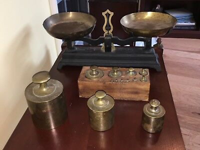Antique Weighing Scale with Weights, Originally from Argentina