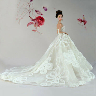 Party Dresses Long Tail Evening Gown Clothes For Doll Wedding Dress