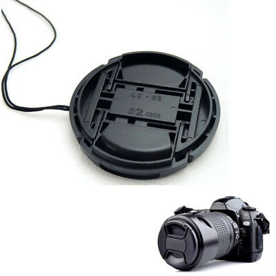 52mm 52 mm Front Lens Cap Center Snap on Lens cap for Nikon + Leash Black NEW#V1