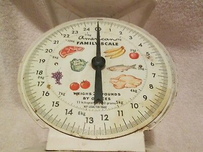 Vintage AMERICAN FAMILY SCALE 25 lbs by oz's Clear Front Face Metal  AS IS