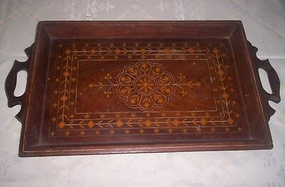vintage inlaid serving tray gallery mahogany 99p no reserve