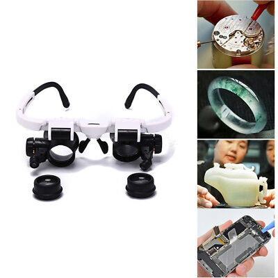 8x 15x 23x adjust bracket loupe led light headband magnifier glass with lamp MAE