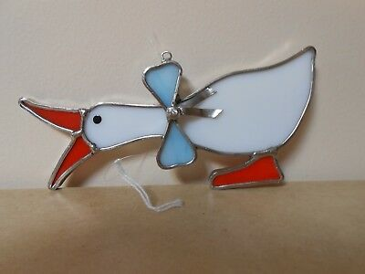 White Duck With A Bow Tie Glass Suncatcher