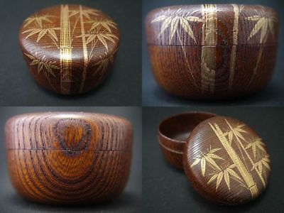 Japanese Traditional Lacquer Wooden BAMBOO makie Grained Hira-Natsume (1129)