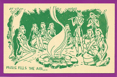 VINTAGE GIRL SCOUT CAMP POSTCARD, Unused ,Music Fills The Air...