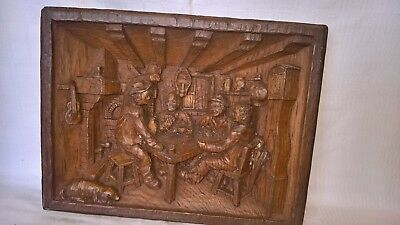 Vintage French Wooden 3 Dimensional Hand Carved Wall Plaque.