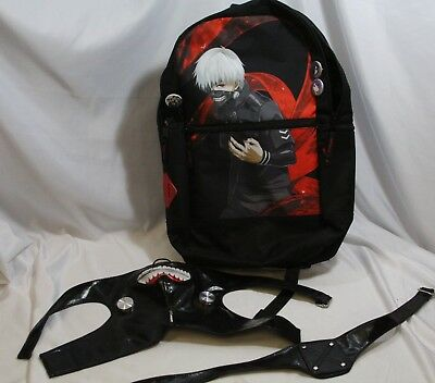 Anime Tokyo Ghoul Backpack & Kaneki Ken Face Mask for Cosplay Buttons