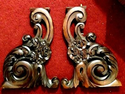 PAIR Antique Victorian 1800's Hand Carved Corbel Brackets Ornate Roses & Dogwood
