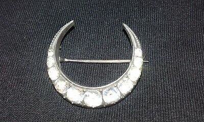 Silver Brooch / broach / pin crescent shape with stones, vintage