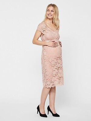 Maternity Dress Size 12 Lace Special Occasion Pink Party Christmas £40 RRP