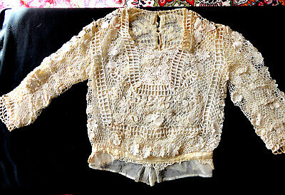 Antique 1800S Irish Lace Blouse, Long Sleeves, Lined, From Estate -Small