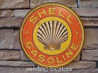 "SHELL GASOLINE clam 12"" round sign vintage gas & oil pump plate service station"
