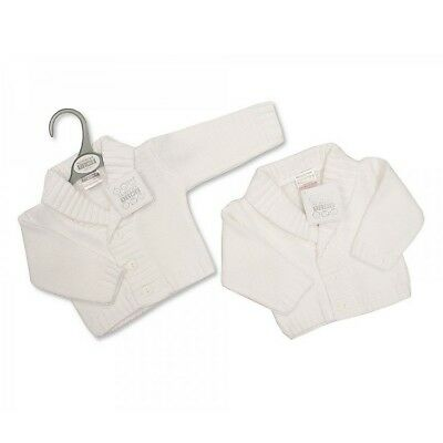 Unisex boy girl white cardigan newborn 0-3-6 months new gift knitted gift baby
