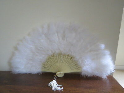 Vintage White Feather Hand Fan