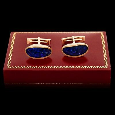 Antique Vintage Deco Retro 14k Gold Carved Inlaid Lapis Mens Cufflinks Earrings